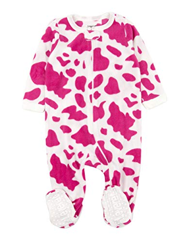 Leveret (F) Footed Pink & White Cow Print Fleece Pajama Sleeper (6-12 Months)