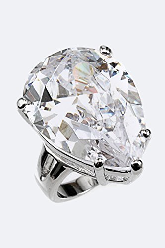 Karmas Canvas Pear Shaped CZ Ring (Clear) (Ring Prices Engagement Verragio)