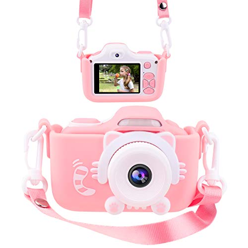 Joytrip Kids Camera for Girls Gifts 16.0MP HD 2.0 Inches Screen Kids Video Camera Anti-Drop Children Selfie Toy Camera Mini Cartoon Child Camcorder for 3-14-Year-Old with Soft Silicone Case (Pink)