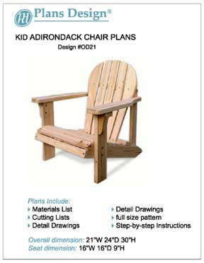Child Adirondack Chair Woodworking Plans Full Sized Patterns