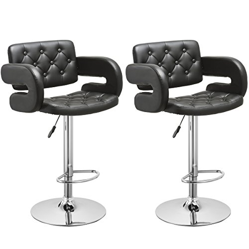 Bar Stool, GentleShower Set of 2 PU Leather Swivel Pub Chair Adjustable Height Barstools with Armrest Hydraulic,Footrest for kitchen, home, bars, office etc Black (Breakfast Height Stool Bar)