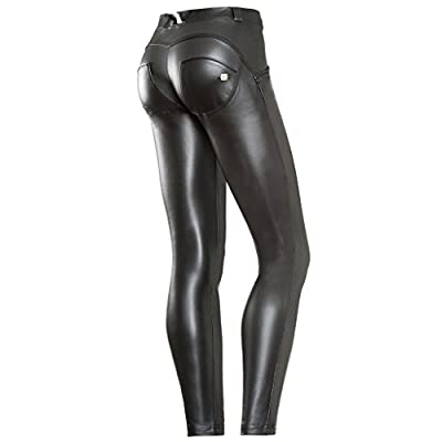 Freddy WR.up Black Faux Leather Pants, Mid Waist, Full Length Booty Pants