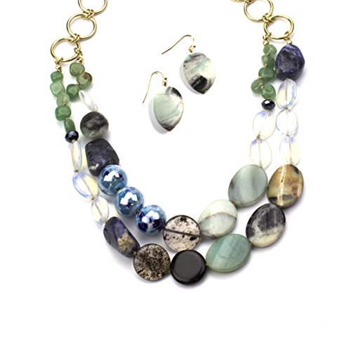 (Womens Jewelry Genuine Sodalite, Amazonite, Crysolite (Olivine) Mixed with Glass Beads Create This Hand Crafted Necklace (18