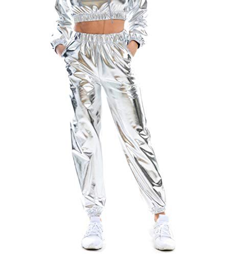 SIAEAMRG Womens Shiny Metallic High Waist Stretchy Jogger Pants, Wet Look Hip Hop Club Wear Holographic Trousers Sweatpant