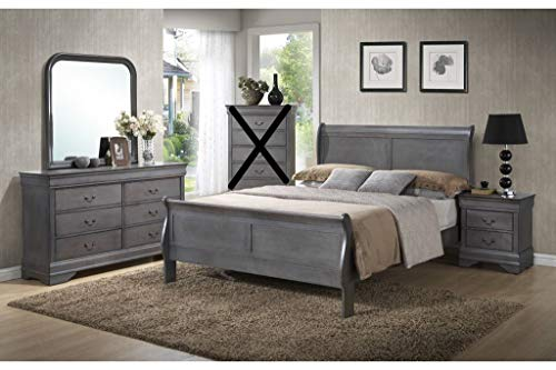 GTU Furniture Classic Louis Philippe Styling Grey Louis Philippe 4Pc Full Bedroom Set(F/D/M/N)