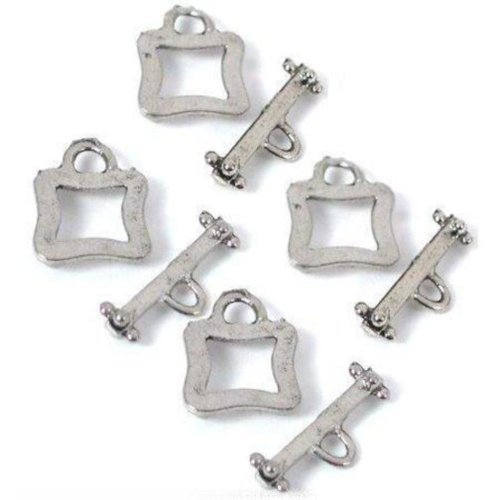 - 4 Bali Toggle Clasps Square Antique Silver Bracelets
