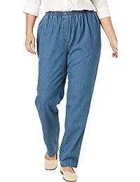 f121209ff9 Women's Plus Size Elastic-Waist Cotton Straight Leg Pant