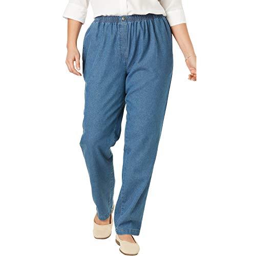 Woman Within Women's Plus Size Elastic-Waist Cotton Straight Leg Pant - Medium Stonewash, 16 W