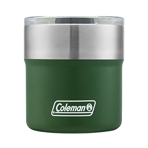 Coleman Sundowner Insulated Stainless Steel Rocks Glass with Slidable Lid, 13OZ, Heritage Green, 13 Oz