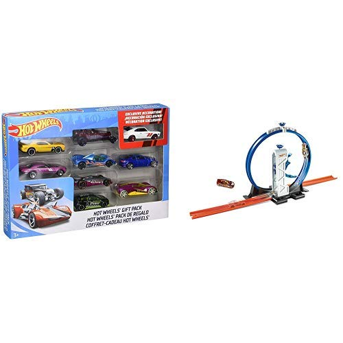 Hot Wheels 9-Car Gift Pack (Styles May Vary) AND Hot Wheels Track Builder Loop Launcher Playset