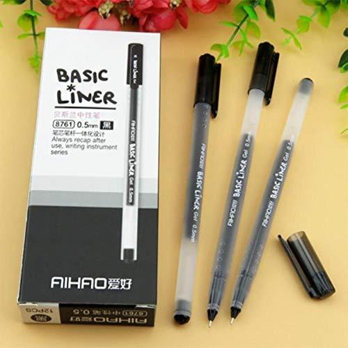 12 pcs Basic liner roller ball pen for writing signature 0.5mm ballpoint 3 color gel ink pens Office tools School supplies (12 Pcs Black)