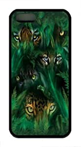 iPhone 5S Case and Cover -Jungle Eyes TPU Silicone Rubber Case Cover for iPhone 5 and iPhone 5s Black