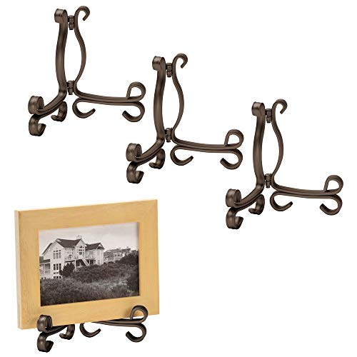 (mDesign Decorative Metal Display Easel, Cookbook Holder, and Plate Stand for Kitchen and Household Storage of Tablets, Books, Plates, Pictures, Displays - Small - 4 Pack - Bronze)