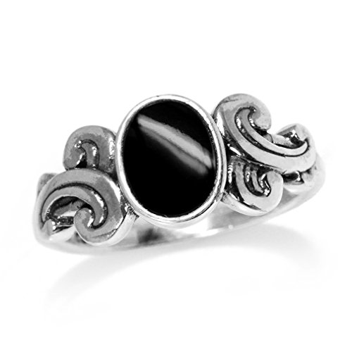 Victorian Onyx (Created Black Onyx Inlay Victorian Style 925 Sterling Silver Ring Size)