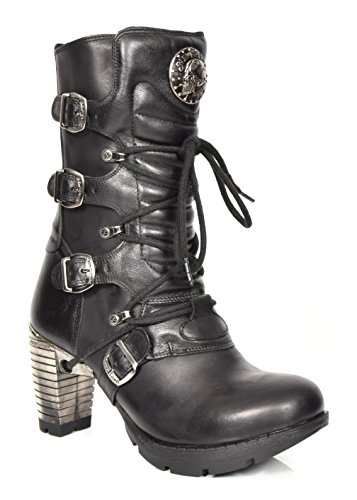 New Rock Femmes Lacets Gothique Bottes Noir Longueur du Mollet Chaussures en Cuir à Bout Rond