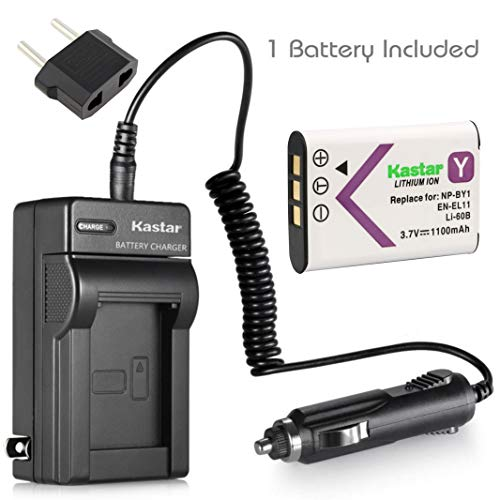 D-li78 Lithium Ion Battery - Kastar EN-EL11 Battery and Charger Replacement for Olympus FE-370 Nikon CoolPix S550 CoolPix S560 Sony Mini HDR-AZ1 Camera and Olympus Li-60B Sony NP-BY1 Pentax D-Li78 Sanyo DB-L70 DB-80