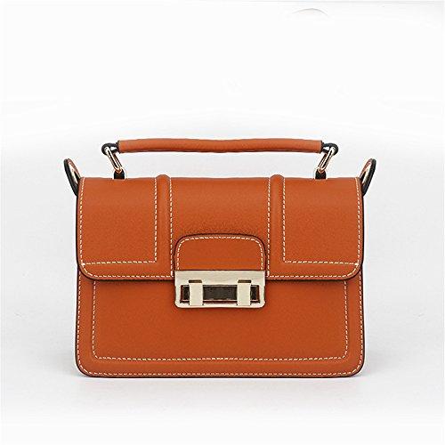 marrón Bag Retro Adecuado para Asdflina Capacidad Bolso de de Simple Messenger Bloqueo Cuadrado Cuero Uso Gran Hombro de Diario BqwO16q