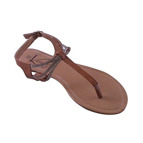 Blancho Verfraaid T-strap Sandaalbruin