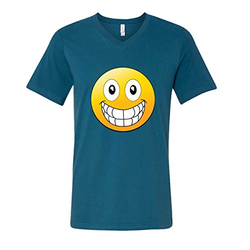 Emoji Big Smile Funny Icons Most Popular V-Neck T-Shirts for Men(Deep Teal,Large) (V-neck Icon)