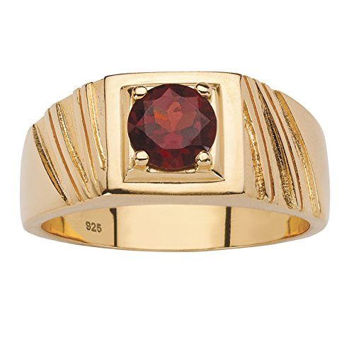 Yellow Gold Genuine Garnet Ring - Men's 14K Yellow Gold over Sterling Silver Round Genuine Red Garnet Ring Size 10