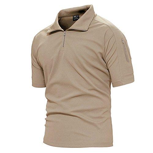 143242aa1c40 TACVASEN Mens Quick Drying Breathable Camping Hiking Short Sleeve Top Tee  Shirt Khaki