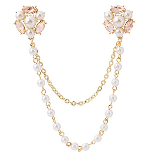 - Fenni CZ Crystal Rose Daisy Pearl Flower Brooch Collar Pins Sweater Cardigan Clips with Pearl Chain (GoldFlowerPin)