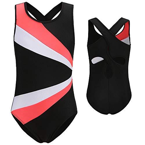 Stanpetix Leotard for Gilrs Gymnastics One-Piece Athletic Ballet Dance Wear (Pink White Black, 130)