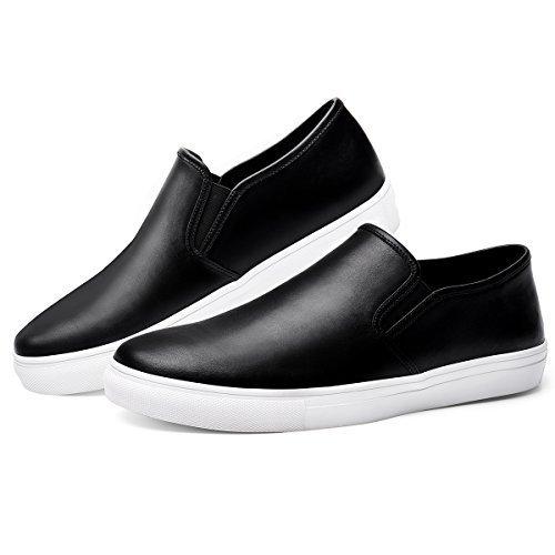 GM GOLAIMAN Men's Sneaker Slip On Loafer - Fashion Leather Shoes Black 12 M US