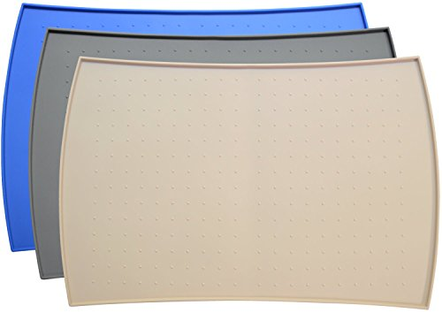 PetFusion X-Large Waterproof Pet Food Mat (Beige, 34x23). FDA Grade Silicone