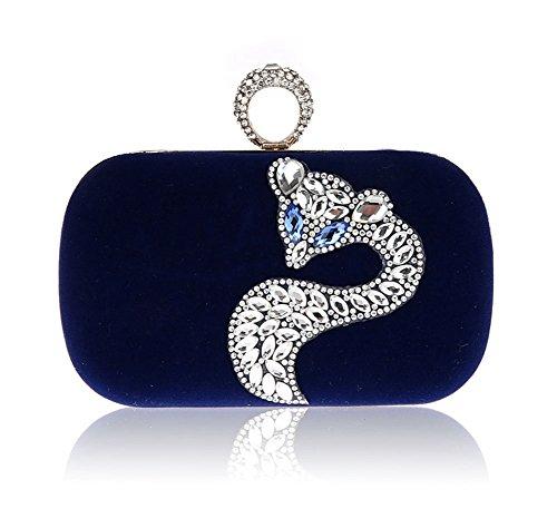 Mini bolsos de diamantes de imitación zorro/Señora del anillo de embrague/paquete de banquete/bolsos de tarde/paquete de novia-B D