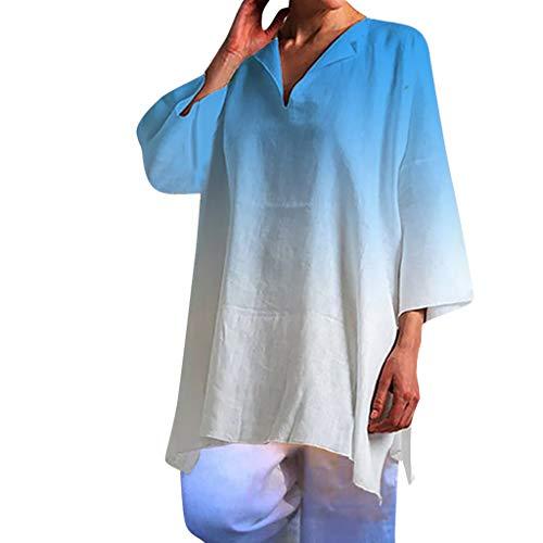 YKARITIANNA Women Ladies Summer Short Sleeve Gradient Casual Tops T-Shirt Loose Top Blouse 2019 Summer Blue ()