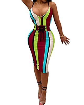 Plus Size Womens Sexy Spaghetti Strap Striped Bodycon Bandage Pencil Party Midi Dress