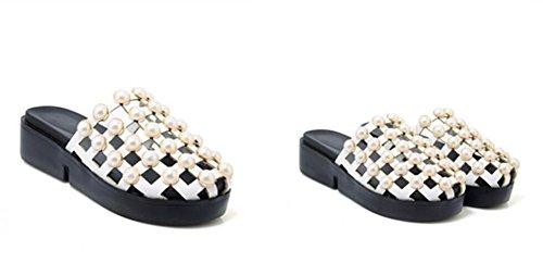 Sandalias 4cm Pu zapatos 30 Posterior Del Comprando festejando Comodidad Las Parte Black 42 Verano Señoras La De ahuecando 38 White Pu Perlas Flojos Xie 34 dAwUncqfdH