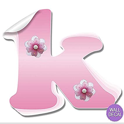 Amazon wall letters k pink flower letter stickers alphabet wall letters quotkquot pink flower letter stickers alphabet initial vinyl sticker kids decals mightylinksfo