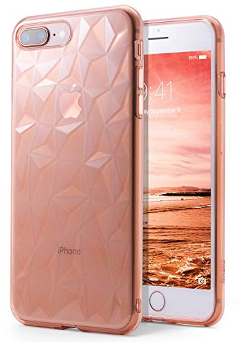 Ringke Air Prism Compatible with iPhone 8 Plus Case, 3D Artistic Jewels Design Slim Unique Diamond Stylish Pattern Soft Gel TPU Drop Protection Cover for iPhone 7 Plus - Rose Gold Crystal