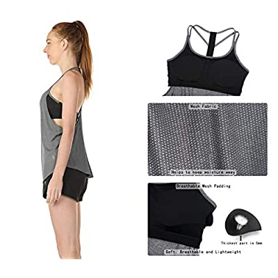 icyzone Workout Tank Tops with Built in Bra - Women's Strappy Athletic Yoga Tops, Running Exercise Gym Shirts: Clothing