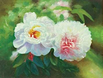 Amazon com: Oil Painting 'White Peony', 18 x 24 inch / 46 x 60 cm