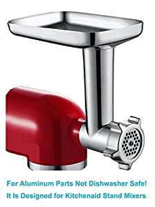 Food Meat Grinder Attachment for KitchenAid Stand Mixers Included 2 Stainless Steel Sausage Stuffers -Useful Mixer Accessory as Food Processor