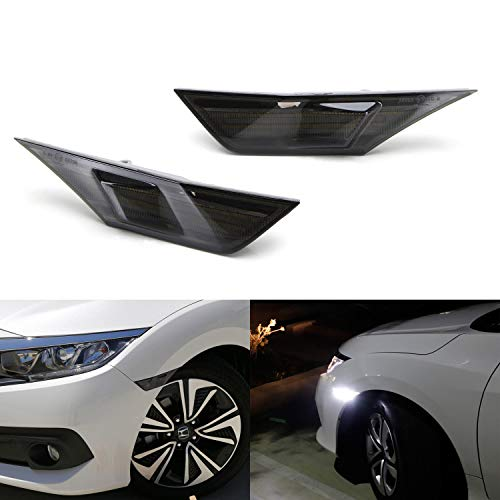 - iJDMTOY Smoked Lens White Full LED Front Side Marker Light Kit For 2016-up Honda Civic, Powered by 90-SMD LED, Replace OEM Sidemarker Lamps