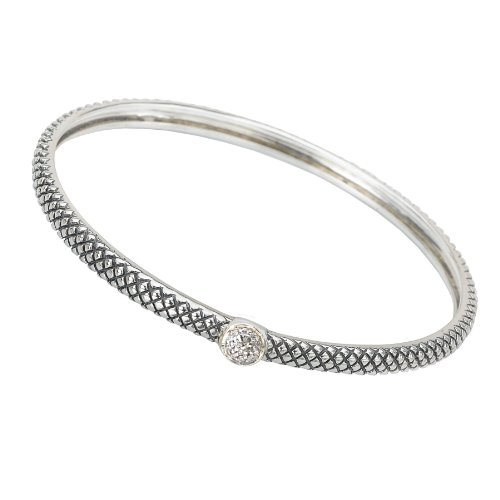 Jewelryimpressions Sterling Silver Enchanta Collection Diamond Stackable Bangle 8 inches