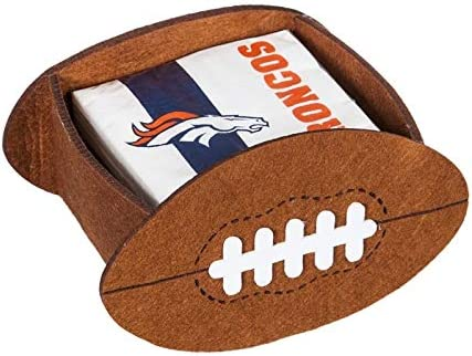 Denver Broncos Fan Set Includes 2 Can Cooler Koozies Football Shaped Cocktail Napkin Holder /& 50 Logo Napkins