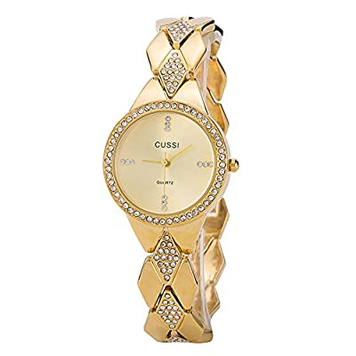 Ladies Crystal Bracelet Dress Wrist Watch for Women - Female Gold, Rose Gold, Silver