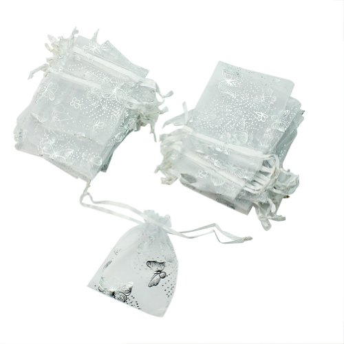 Wholesale Beautiful 50 Pcs White Butterfly Organza Jewelry Gift Candy Pouch Bags