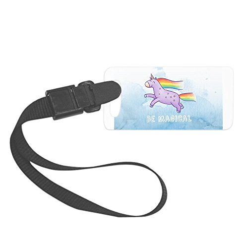 Royal Lion Small Luggage Tag Be Magical Happy Unicorn and Rainbow