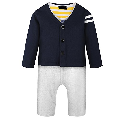 Baby Boy Navy Jumpsuit Romper 2 Pcs Long Sleeve Clothing Outfit Sets with Jacket