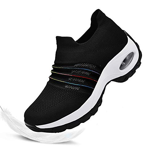 Hotaden Womens Walking Shoes Comfortable Nurse Work Shoes Mesh Sock Sneaker Breathable Slip on Shoes for Women Loafers with Gradient Color Line (8, Colorful Black) (The Best Sneakers For Nurses)