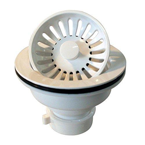 - Westbrass Push-Pull Style Large Kitchen Sink Basket Strainer, Powder Coat White, D2143P-50