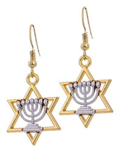 (Jewish Hanukkah Israel Star of David Candlestick Menorah Drop Earrings for Women )