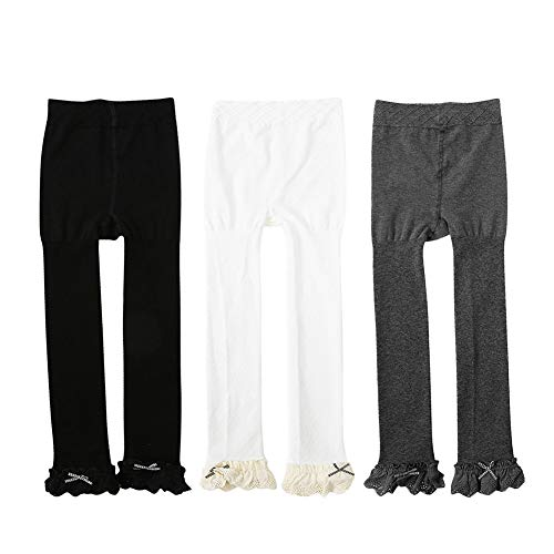 c886ac51eb7 Ehdching 3 Pack Cable Knit Footless Ruffle Tights Leggings Stocking Pants  for Baby Toddler Kids Girls