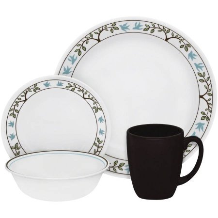 Livingware Tree Bird 16 Piece Dinnerware Set, Microwave and